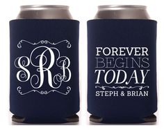 Wedding Koozies, Monogrammed Koozies, Personalized Koozies, Wedding Favor, Monogrammed Coozie, Monogram Gift, Beverage Koozie by SipHipHooray on Etsy https://www.etsy.com/listing/233711772/wedding-koozies-monogrammed-koozies