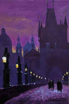 Gallery of artist Yuriy Shevchuk: Prague Charles Bridge Violet 01