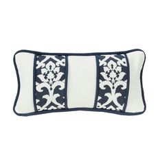 HiEnd Accents White Linen DecoThrow Pillow With Embroidery Envelope And Piping Detail