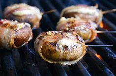 Blue Cheese Filled Bacon Wrapped Mushrooms (May substitute Blue Cheese with Goat cheese).