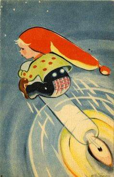 elbjörg Christmas Cards, Christmas Postcards, Christmas Ideas, Gnomes, Elves, Norway, Disney Characters, Fictional Characters, Disney Princess