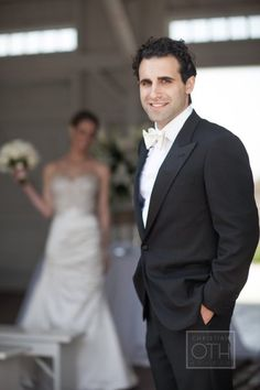 Groom's Tuxedo: Battistoni | Groom's Shirt: From Boyds Philadelphia | Groom's Ivory Silk Satin Bowtie and Suspenders: Molly Rodgers | Patent Tuxedo Shoes: Salvatore Ferragamo.