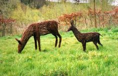 Steel and willow Willow #sculpture by #sculptor Alicia Castrillo titled: 'sGrazing Deer and Baby (Garden Art Willow Sculptures)' #art