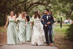 You'll see soft celadon and rustic touches in this wedding featured in @TheWeddingRow Venue is the Legare Waring House @teamlpv   Hair by @paperdollshair  Her dress by @martinaliana   Bridesmaids dresses by @billlevkoff   Flowers by Charleston Flower Market    Catering by @hambycatering  Cake by Sablee   DJ was DJJosh