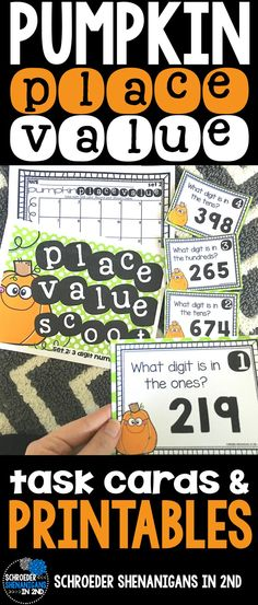 Place Value task cards scoot for 2 and 3 digit numbers for 1st and 2nd graders - 2 sets of differentiated task cards with keys included and a few place value printables included as well