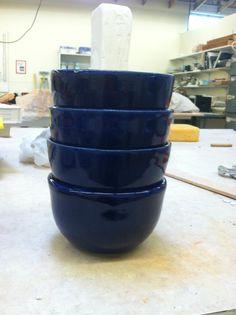 set of cobalt blue hand thrown bowls