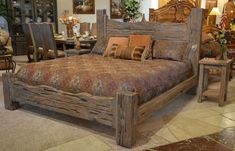Rustic King Bed: Custom Western Style Wood Bed  BRS178A - Air Bed - Ideas of Air Bed #AirBed -  This Bed Is Mad Of Solid Natural Air Dried Solid Cedar Cypress ( Not Kiln Force Dried ). An Original Craft Not A Reproduction.