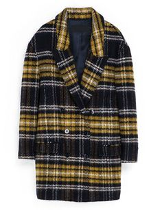 Yellow Navy Long Sleeve Plaid Trench Coat - Sheinside.com