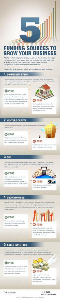 5 Funding Sources to Grow Your Business #Infographic via @Entrepreneur Magazine - No B.S. University http://www.NOBSU.com