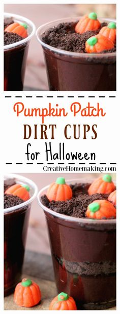These easy pumpkin patch dirt cups are a fun fall or Halloween treats for parties.