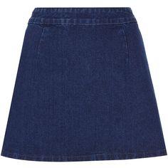 TOPSHOP MOTO Indigo A-line Denim Skirt (190 BRL) ❤ liked on Polyvore featuring skirts, bottoms, denim, saias, indigo, knee length a line skirt, denim skirt, a line denim skirt, front zip skirt and topshop skirts