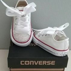 White Converse, Bling Crystals, Toddler Sizes, 2-10, Bedazzled Toes, All Around, Up The Back, You Choose, Baby Girls by cutiepiegoodies on Etsy https://www.etsy.com/listing/285578937/white-converse-bling-crystals-toddler