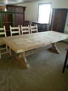 Antique Reclaimed Barn Wood Trestle Table by ValensFurniture