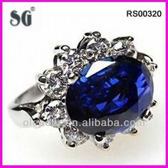 2013 new fashion ring_bule cz stone ring with high polished_ beautiful engagement ring