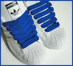 100% authentic 2f80a caf46 Shell heads with BLUE Fat laces 80s Kids, Adidas Superstar, Back In The Day