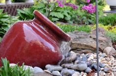 The easiest type of fountain to build.  A fountain that recirculates water will be your best bet for conserving water and saving some money. There are many fountain kits available on the market, but you can build your own if you purchase a pump and tubing.