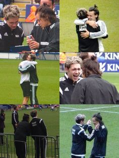 The first pic is harry acting like the assistant manager because he told everyone that he was the assistant manager