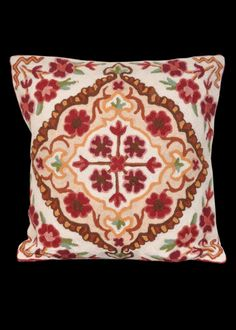 Kashmir Hand Embroidery 16 X 16 Pillow Cover Indian by ArtMela