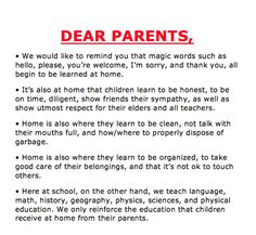 School Poster Draws the Line Between Responsibilities of Parents & Tea – Bored Teachers Dear Parents, Letter To Parents, Parents As Teachers, Parent Letters, Manners For Kids, Learn Brazilian Portuguese, Bored Teachers, Portuguese Lessons, Importance Of Time Management
