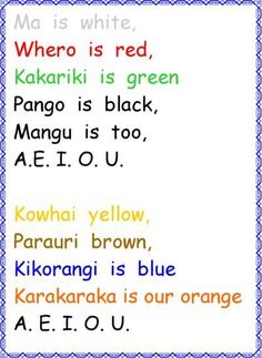I chose this rhyme because NZ children learn Maori​ words and its meaning. Color Song For Kids, Color Songs, Preschool Songs, Kids Songs, Preschool Ideas, Primary Teaching, Teaching Reading, Learning, School Resources