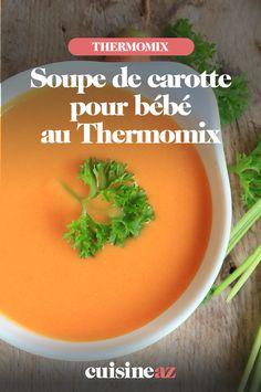 Réaliser de la soupe pour bébé, c'est un jeu d'enfant au Thermomix. Essayez avec cette recette de soupe de carotte pour bébé ! #recette #cuisine #soupe #potage #legume #carotte #bebe #robotculinaire #thermomix Nutrition, Cantaloupe, Robot, Fruit, Cream Soups, Cooking Recipes, Carrot Soup, Carrots, Baby Jars