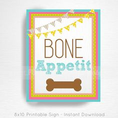 Dog Party Signs Bone
