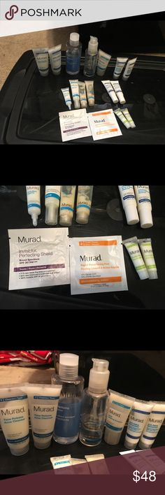 Huge murad bundle. 2 eye creams--- one has been used about 3 times. One almost full cleanser and one bottle of cleanser with a few uses left in it. One over half full toner. 2 Acne clearing solutions. 4 Acne spot treatments. 2 moisturizers. 2 wrinkle reducers and a few samples. murad Makeup