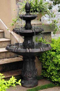 Pineapple 3 Tier Fountain Outdoor Garden Water Fountain in Dark Color #sylink