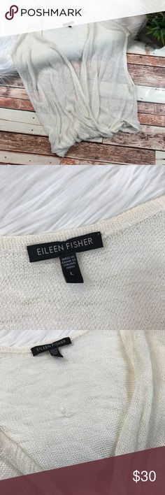 Eileen fisher white linen wrap blouse Size large, in very good condition! Has small pull in the back but it's not very noticeable. Material contents tag is missing. Length-25, bust-21 pit to pit ***NO modeling or trades!! ::041 Eileen Fisher Tops Blouses