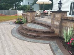 Cambridge Pavingstones with ArmorTec offers pavings options for patios, pools, walkways, driveways, landscape walls and outdoor living solutions. Backyard Plan, Backyard Kitchen, Cambridge Pavers, Porch Steps, Paving Stones, Outdoor Living, Outdoor Decor, Landscape Walls, Garden Office