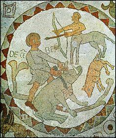 Dicembre: macellazione di un cinghiale con rappresentazione allegorica del segno zodiacale del Sagittario. Otranto, mosaico pavimentale, 1163