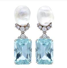 Earrings Studs baroque pearls, diamonds and emeraldcut aquamarine earrings - Diamond Solitaire Earrings, Aquamarine Earrings, Diamond Jewelry, Pearl Earrings, Amethyst, Silver Earrings, Diamond Stud, Pearl Jewelry, Jewelery