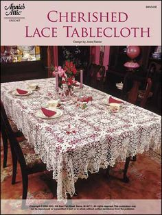 """Add a touch of elegance to your dining table with this exquisite tablecloth. Crocheted using size 10 cotton, this join-as-you-go motif design is approximately 64"""" x 89"""" when finished. Skill Level: Advanced"""