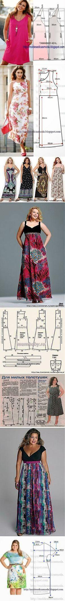 Выкройки летних платьев и сарафанов на полную фигуру.