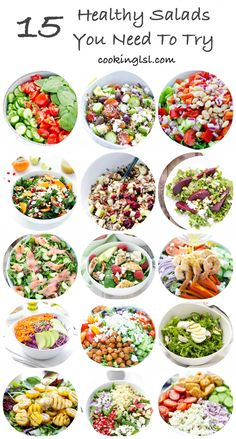 15 Salads Tomato Cucumber And Spinach Salad With Avocado Parsley Dressing Village Salad Arugula Smoked Salmon And Cucumber Salad Kale Persimmon Salad Roasted Beet Salad … Healthy Meal Prep, Healthy Salad Recipes, Lunch Recipes, Diet Recipes, Healthy Snacks, Vegetarian Recipes, Healthy Eating, Cooking Recipes, Recipes Dinner