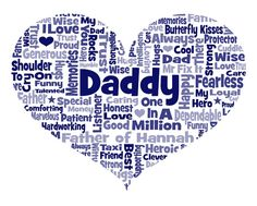 Personalised Dad / Daddy / Father Heart Shaped Word Cloud Art Father's Day Gift
