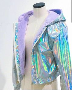 2 sides holographic jacket in 2019 Teen Fashion Outfits, Rave Outfits, Trendy Outfits, Cool Outfits, Holographic Jacket, Holographic Fashion, Holographic Fabric, Kawaii Fashion, Cute Fashion