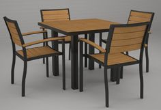 """Polywood PWS103-1-12NT Euro 5-Piece Dining Set by POLYWOOD. $1594.95. Made in the usa. Product with over 90-percent recycled materials. Solid, heavy-duty construction withstands nature?s elements; easy to clean with soap and water. Poly-wood lumber requires no painting, staining, waterproofing, or similar maintenance. Set includes four a200 euro arm chairs and a at36 euro 36"""" square dining table. In 1990, in a garage in Northern Indiana, an innovative idea was taking sha... 5 Piece Dining Set, Dining Sets, Wood Lumber, Square Dining Tables, Patio Furniture Sets, Recycled Materials, Outdoor Decor, Arm Chairs, Pool Ideas"""