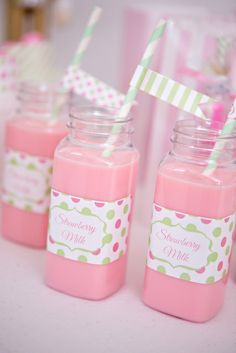 Cute milk bottles at a Fairy Princess party!  See more party ideas at CatchMyParty.com!  #partyideas #christmas