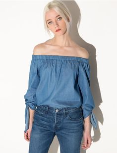 Chambray sleeve tie off the shoulder top #fashion #pixiemarket