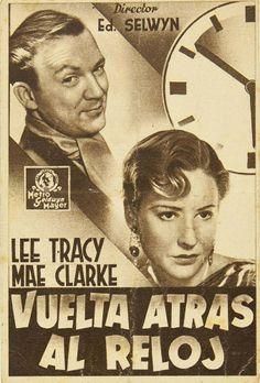 """Programa de mano de cine de la película """"Vuelta atrás al reloj"""", estrenada en España en el año 1933"""