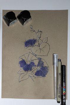 "Day 27: Campá morada (Dondiego de día) ""Ipomea purpurea""  #InkTober #InkTober2016 #InkToberEspaña #FloraDaGaliza Inktober, Drawings, Sketches, Drawing, Portrait, Draw, Grimm, Illustrations"