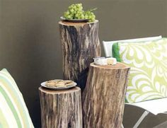 So many ways to recycle wood into tree stump tables