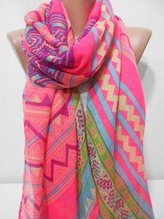 neon pink spring summer scarf