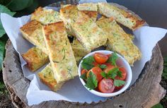 Zucchini Slice- Great way to get the kids to eat their vegetables. Can be frozen, you just need to reheat in the oven. Perfect for the kids lunch boxes. Savoury Slice, Zucchini Slice, Bacon Zucchini, Recipe Collection, Finger Foods, Cooking Recipes, Cooking Bacon, Meal Recipes, Cake Recipes
