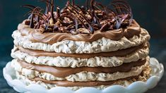 Try this Chocolate Date Meringue Cake recipe by Chef Kirsten Tibballs. Cheesy Hashbrown Casserole, Cheesy Hashbrowns, Chocolate Garnishes, Chocolate Recipes, Chocolate Lovers, Chocolate Chips, Pavlova, Easy French Recipes, Cake Recipes