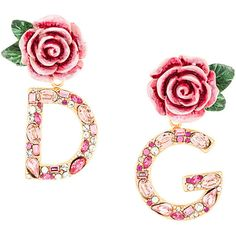 Dolce & Gabbana DG rose drop earrings (16.511.290 VND) ❤ liked on Polyvore featuring jewelry, earrings, drop earrings, summer earrings, rose earrings, sparkling jewellery and logo earrings