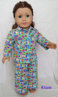 Turquoise Owl Pajamas for American Girl by Kizzie Creations