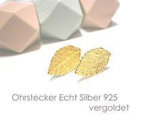 **Ohrstecker Blatt Silber vergoldet** aus Echt Silber 925 mit Gelbgold-Vergoldung. Das edle, hochwertige Material, aus dem die Ohrstecker gefertigt sind (Sterlingsilber, vergoldet), ist auch als...