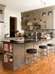 Small Kitchen Remodel: Kitchen Revival. Love the shelves at the end of the peninsula